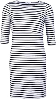 Elma & Me 3/4 Sleeve Striped Maternity Nursing Dress