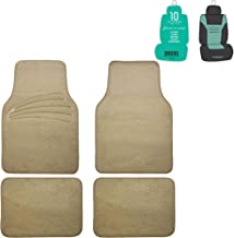 FH Group F14401 Premium Carpet Floor Mats with Heel Pad, Beige Color w. Free Air Freshener- Fit Most Car, Truck, SUV, or Van