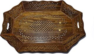 DECORVAIZ Hand Carved Wooden Serving Tray Decorative Tray Cum Platter for Home, Kitchen, Table Décor