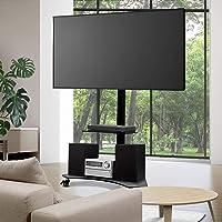 """Artiss TV Stand Mobile Floor Standing TV Mount Bracket Shelf for 32"""" to 70"""" ±35 Swivel Standing Tempered Glass Shlef..."""