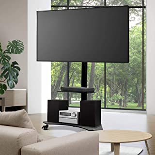 """Artiss TV Mount Stand Floor Moible Wheels w/ Brakes 32"""" to 70"""" ±35 Swivel Standing Tempered Glass Shlef Height Width Adjus..."""