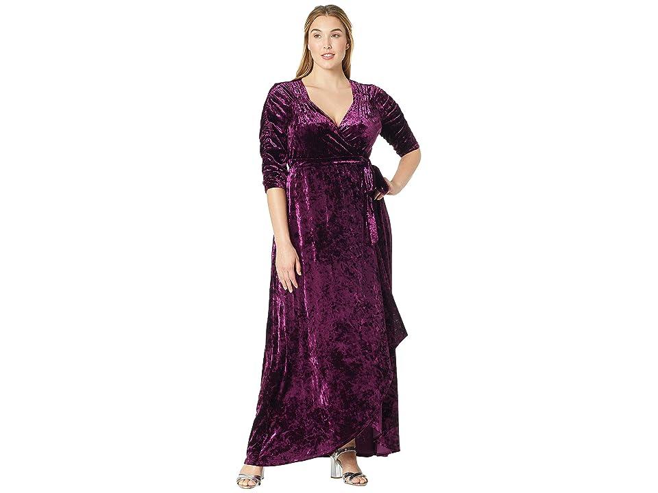 Kiyonna Cara Velvet Wrap Dress (Mystic Plum) Women