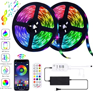 AOTIBESO LED Strip Lights RGB Strips 32.8ft Tape Light 300 LEDs SMD5050 Waterproof Music Sync Color Changing + Bluetooth Controller + 24Key Remote Control Decoration for Home TV Party - APP Controlled