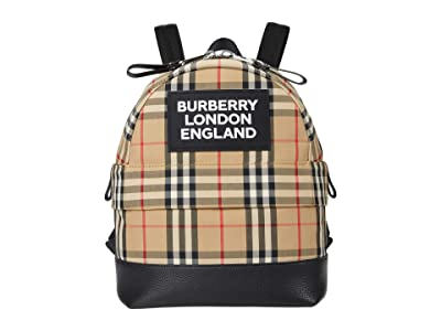 Burberry Kids Small Nico Check Backpack (Beige) Backpack Bags