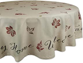 """DII 100% Cotton, Machine Washable, Printed Kitchen Tablecloth For Dinner Parties, Fall, Holidays & Thanksgiving - 70"""" Roun..."""