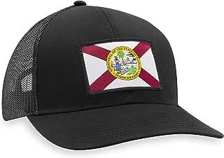 Florida Flag Hat – Florida Trucker Hat Baseball Cap Snapback Golf Hat (Black)