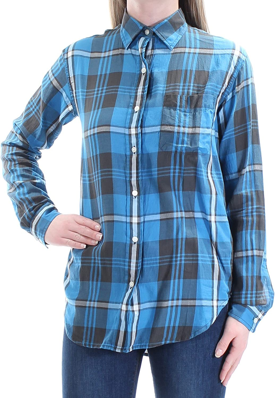 RALPH LAUREN D & S Womens bluee Plaid Cuffed Collared Button Up Top US Size  S