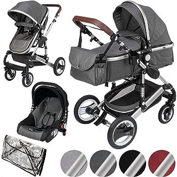 ib style® SOLE 3en 1 poussette combiné | incl. siège auto/nacelle bébé|incl. moustiquaire/habillage pluie | 0-15kg | 4 couleurs | GRIS