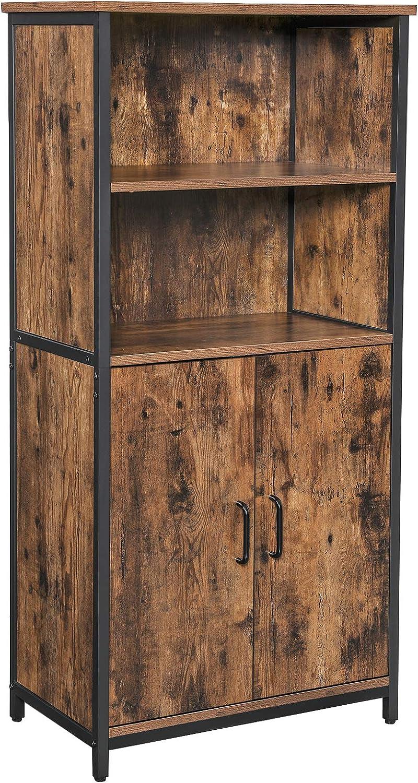 VASAGLE Floor Standing Cabinet, Storage Cabinet, Kitchen Cupboard with 9  Open Compartments, 9 Adjustable Shelf Behind Doors, Multifunctional, ...