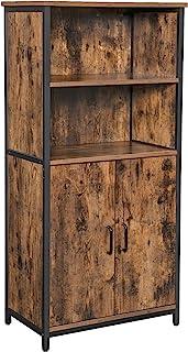 VASAGLE Aparador con Vitrina Estantería Librería para Sala de Estar Cocina 2 Compartimentos Abiertos y 1 Cerrado con ...