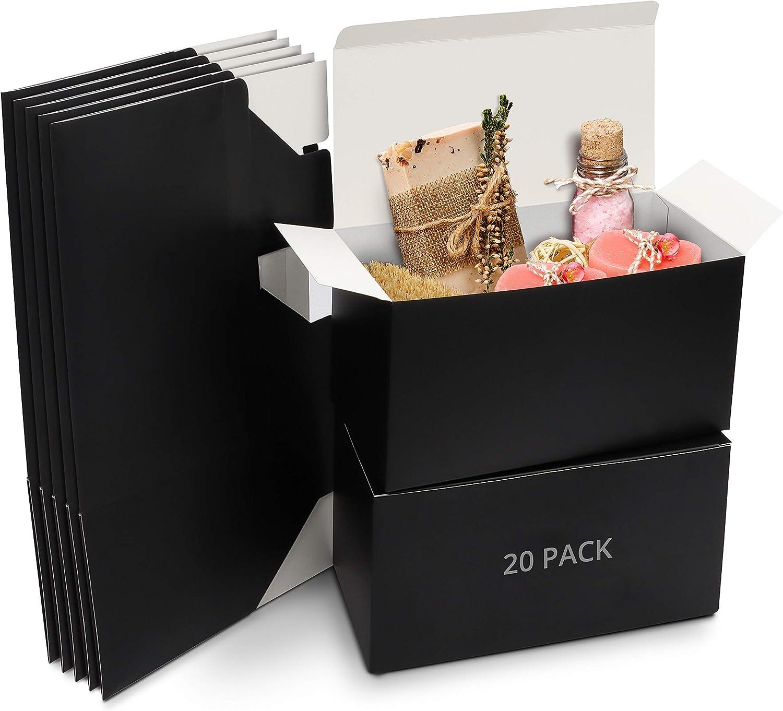 Belle Vous Cajas de Cartón Kraft Negras (Pack de 20) – Medidas de las Cajas 23 x 11,5 x 11,5 cm - Caja Kraft Fácil Ensamblado Cuadrada Presentación - Cajitas para Regalos, Fiestas, Cumpleaños, Bodas
