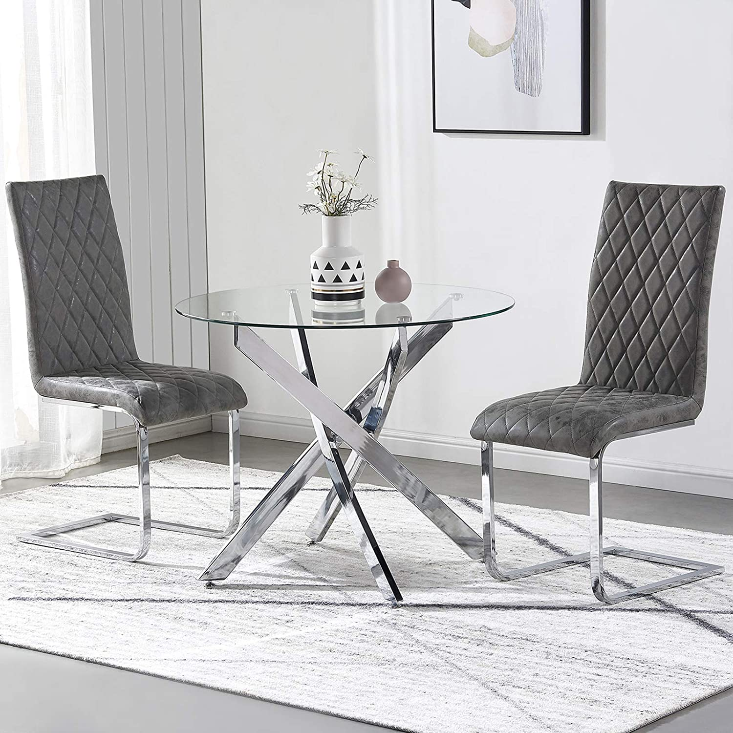GIZZA Glass Dining Table and Chairs Set 2 Round Tempered Clear Glass Table and 2 Grey Chairs,Distressed Faux Leather Padded Seat with Solid Chrome Base,for Living Room Kitchen Dining Room