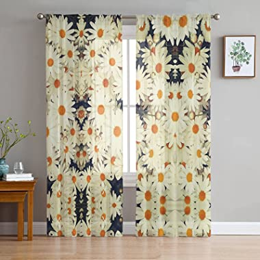 Semi Sheer Curtains with Rod Pocket Elegant Natural Wild White Daisy Flower Curtain Panels for Living Dining Room, 2 Panels (
