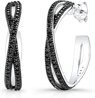 5f899bde9 Victoria Kay 1.2ct Diamond Criss Cross Hoop Earrings in Sterling Silver  (J-K, I2