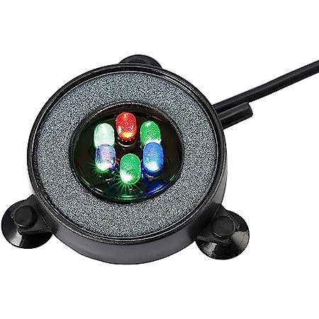 NICREW Aquarium Stone Disk, Round Fish Tank Bubbler with LEDs, Aquarium and Fish Tank Decoration