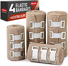 Sponsored Ad - Premium Elastic Bandage Wrap - 4 Pack + 4 Extra Clips - Durable Compression Bandage (2x - 3 inch, 2x - 4 in...