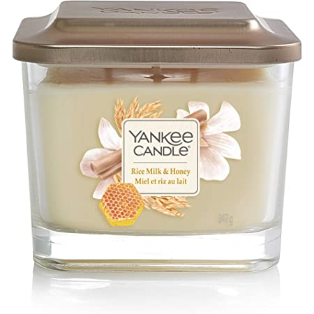 Yankee Candle Elevation Collection with Platform Lid Rice Milk & Honey Scented Candle, Small 1-Wick, 28 Hour Burn Time