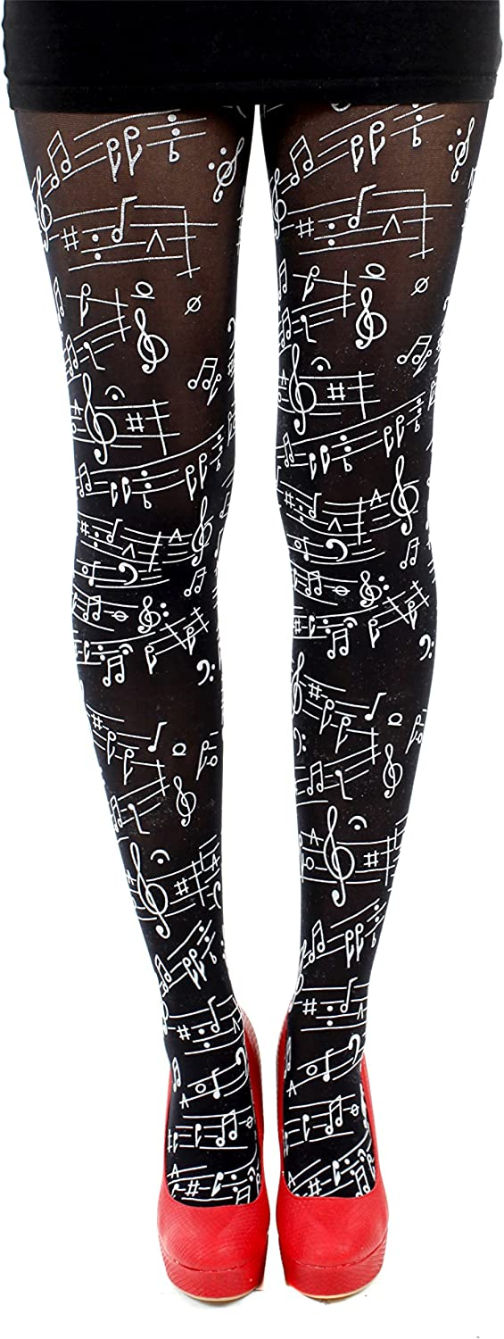 Flocked Musical Note Tights-Black-One Size