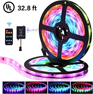 LED Strip Lights with Remote - 32.8 ft Waterproof Tape Lights Color Changing Lights Chasing Music Sync,9 Keys 25 Modes RF Controller,300 Leds Light Flexible SMD 5050 RGB Led Strip,12V 5A- UL Listed