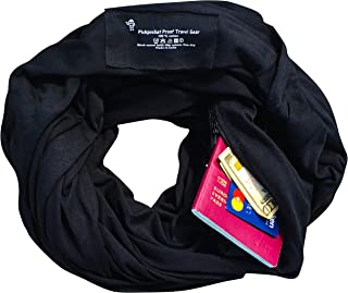 Clever Travel Companion Travel Scarf with 2 Hidden Zipper Pockets, 100% Pickpocket Proof Holiday Tour (Black)