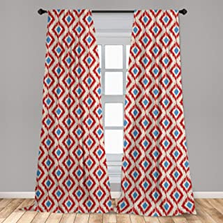 Ambesonne Ikat Window Curtains, Revival Pattern Classical Diamond Line Pattern with Traditional Design Elements, Lightweig...