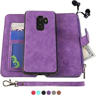 Samsung Galaxy S9 Plus Case, [Detachable Wallet Folio][2 in 1][Zipper Cash Storage][Up to 14 Card Slots 1 Photo Window] PU Leather Purse Clutch with Removable Inner Magnetic TPU Case - Purple