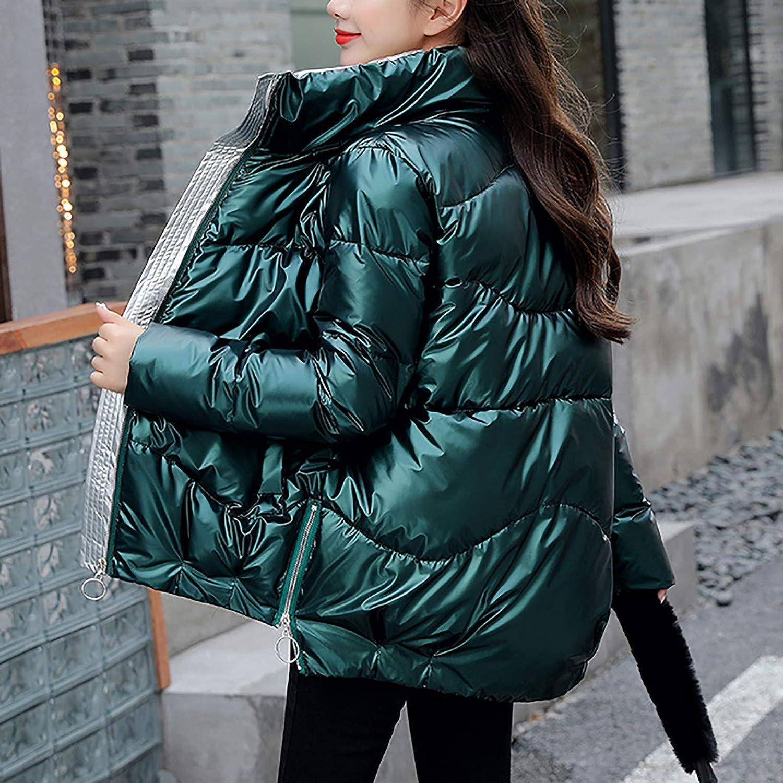 Mäntel Damen,Winterjacken für Frauen Loose Glossy Quilted Short Coat Lässig verdicken Stand Kragen Daunenjacke Parka Oberbekleidung Grün