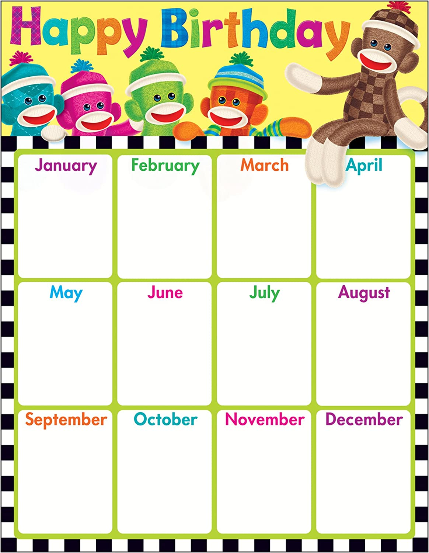 SOCK MONKEY HAPPY BIRTHDAY LEARNING CHART CHART CHART B00C4TV482 | Neueste Technologie  5746ac