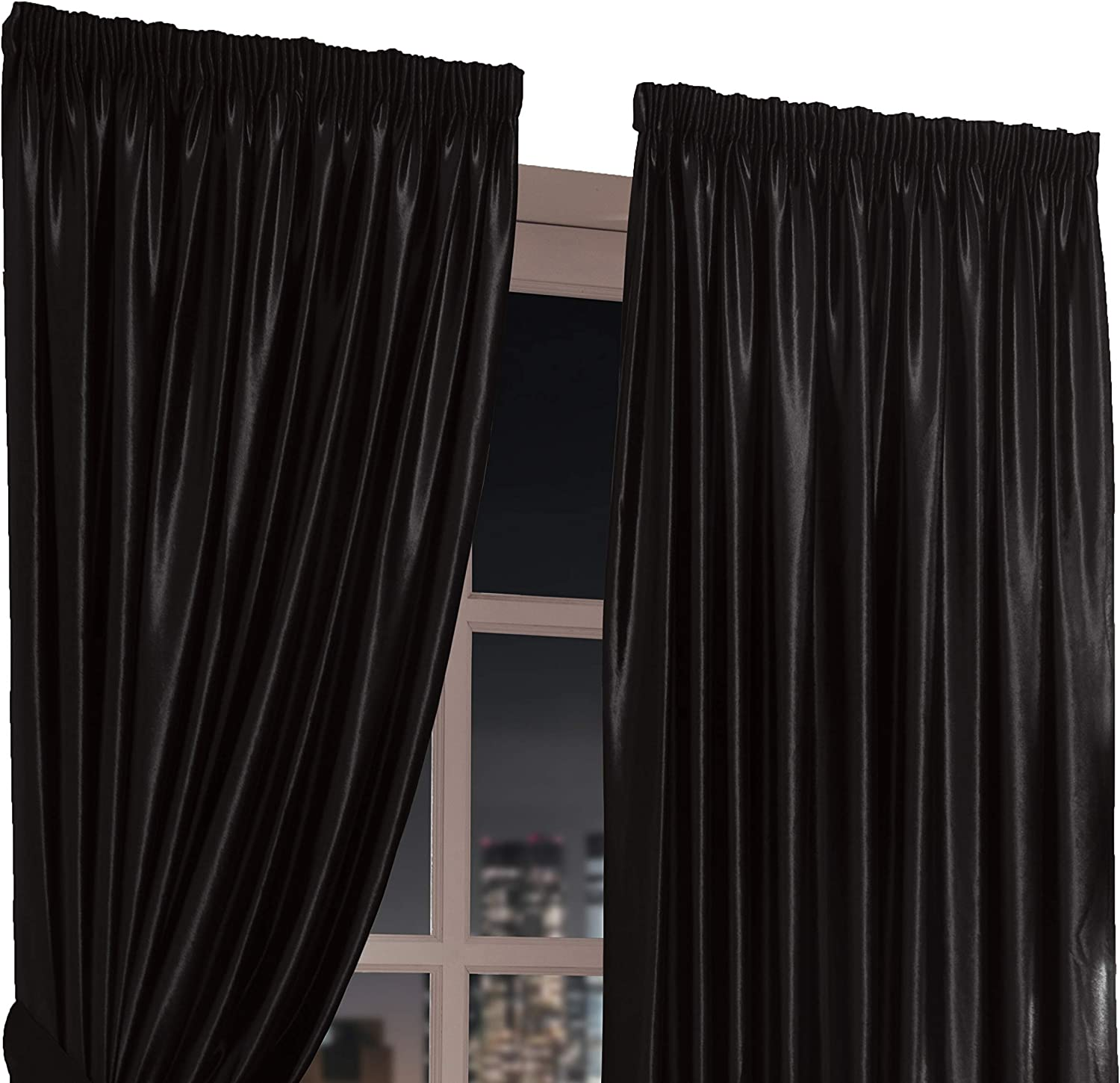 CHANTAL Faux Velvet Pair of Lined Tape Curtains Black 90  x 108  (size approx)