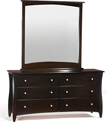 Night & Day Furniture Clove 6 Drawer Chocolate Dresser with Mirror
