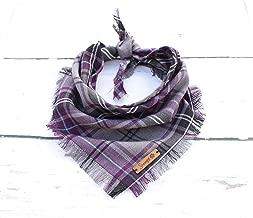 Pet Pooch Boutique Frayed Buffalo Purple Plaid Bandana for Dog, Medium/Large, M