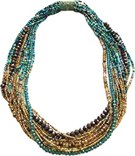 Mayan Arts Multi Strand Beaded Necklace, Multi Color Turquoise and Gold, Sparkly Beads, Women Necklaces, Jewelry, Magnetic Clasps, 19.5 Inches Long