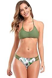 SHEKINI Womens Ruffle Flounce Triangle Bathing Suits Cute Two Piece Swimsuits