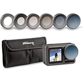 Ultimaxx's 8 Piece Waterproof Filter Kit for Osmo Action Camera (UV, ND4, ND8, ND16, ND32, CPL Filters) Made of Optical Glass and Aluminum Frame; Includes Carrying Case and Cleaning Cloth