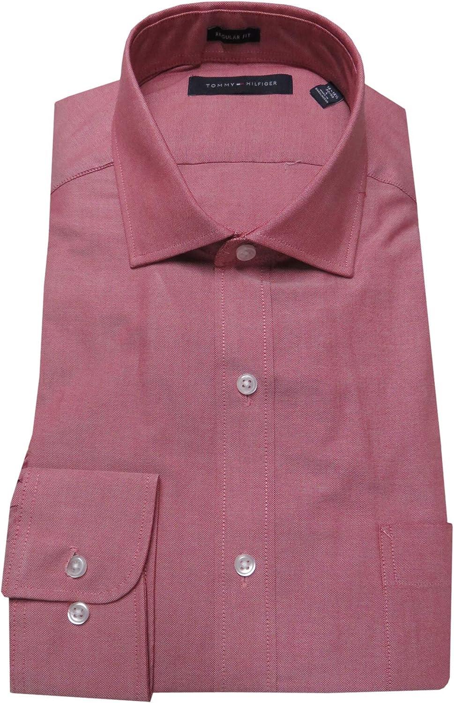 Tommy Hilfiger Men's Regular Fit Shirt, Size 16-16 1/2-32/33, Cherry
