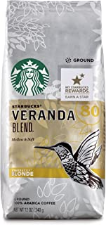 Starbucks Veranda Blend Light Blonde Roast Ground Coffee, 12 Ounce (Pack of 6)