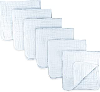 Muslin Burp Cloths 6 Pack Large 100% Cotton Hand Washcloths 6 Layers Extra Absorbent and Soft (White, Pack of 6)