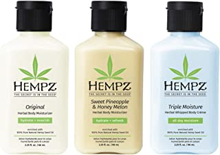 Hempz Original, Sweet Pineapple & Honey Melon, and Triple Moisture Mini Moisturizers, Pure, Natural & Herbal Hemp Seed Lot...
