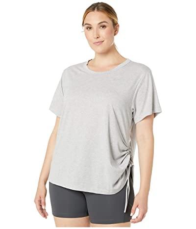 Nike Miler Top Short Sleeve Cinch (Size 1X-3X) (Atmosphere Grey/Heather/Reflective Silver) Women