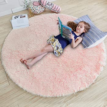Amazon Com Pink Round Rug For Bedroom Fluffy Circle Rug 4 X4 For Kids Room Furry Carpet For Teen Girls Room Shaggy Throw Rug For Nursery Room Fuzzy Plush Rug For Dorm Pink Carpet