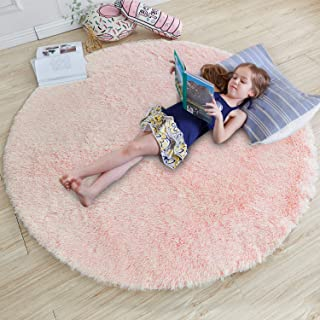 Pink Round Rug for Bedroom,Fluffy Circle Rug 4'X4' for...