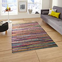 Eco friendly 100% recycled cotton colorful Chindi Area Rug ? 5'x7'