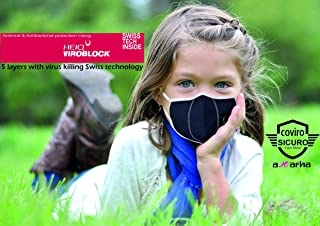 Kids Coviro Sicuro 5 layers Antiviral facemask with virus killing technology & breathing valve, super breathable, reusable...