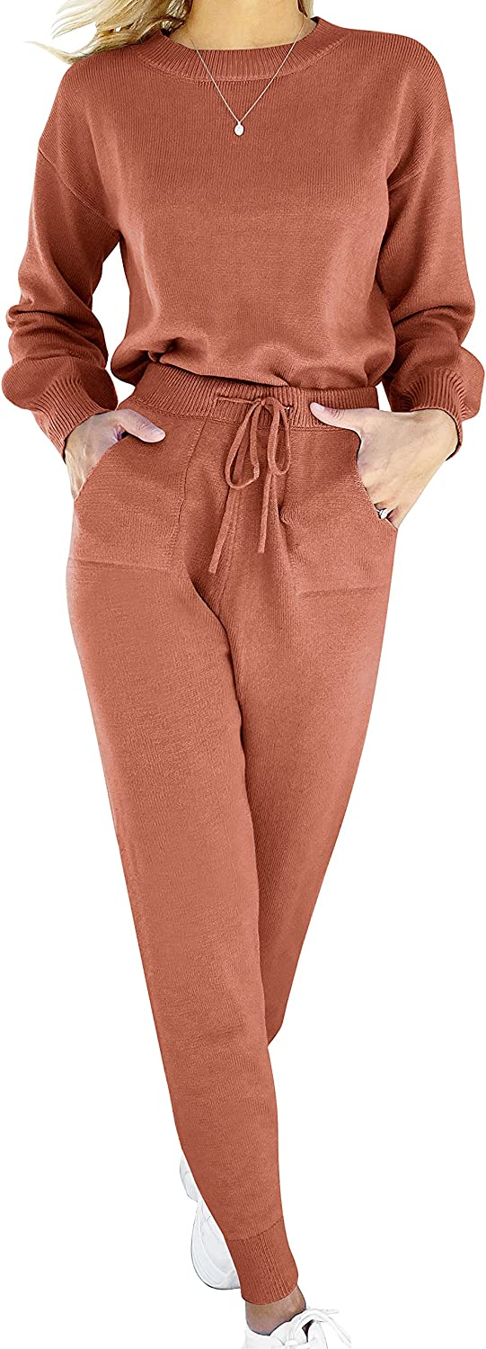 ANRABESS Women's Two Piece Outfits Sweater Sets Long Sleeve Pullover and Drawstring Pants Lounge Sets
