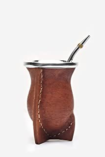 Balibetov [NEW] Leather Wrapped Handmade Yerba Mate Gourd (Mate cup) with Bombilla (Yerba Mate straw) (Brown)