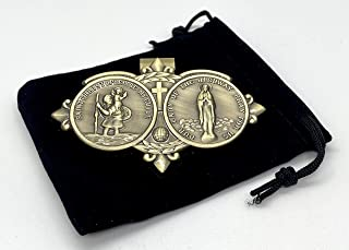 Amazing Saints Antiqued Brass Saint Christopher of The Highway Visor Clip with Black Gift Bag