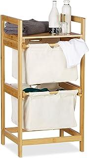 Relaxdays, nature Panier bambou, 2 sacs, 25 L, 2 tiroirs, surface de rangement, coffre à linge, polyester, 1 élément