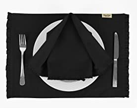 Vargottam Black Solid Home Décor Dining Room Reversible Frill Tablemats with Napkins Set-Pack of 6