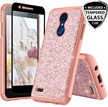 TJS Phone Case for LG K10 2018/K30/Premier Pro LTE/Harmony 2/Phoenix Plus/Xpression Plus, with [Tempered Glass Screen Protector] Glitter Bling Girls Women Design Dual Layer Heavy Duty (Rose Gold)