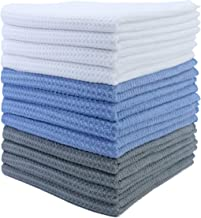 Polyte Premium mikrofiber kök disk te handduk våffelväv (blå, grå, vit, 40 x 71) 12-pack